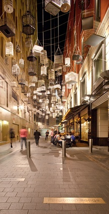 By night, the calls from Michael Thomas Hill's <em>Forgotten Songs</em> installation in Angel Place switch to those of nocturnal birds.