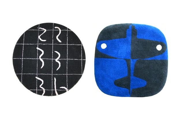 Dilana maquette rug collection. Left to right: Club de Conversation DIAL #1 by Catherine Griffiths; Spitfire (blue/charcoal) by Richard Killeen.