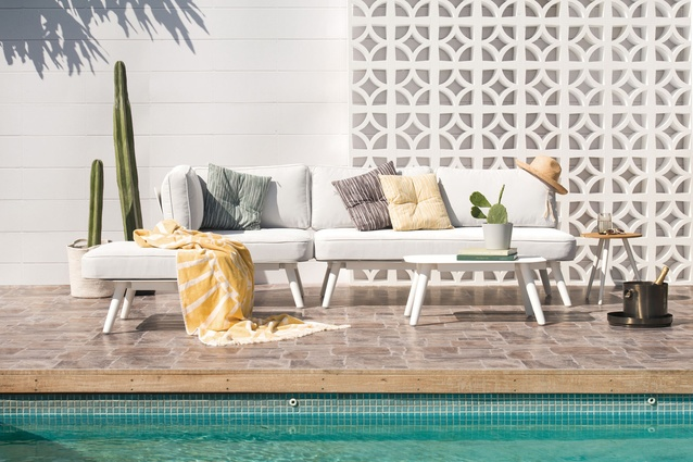Citta <i>Wish You Were Here, Postcards from Palm Springs</i> collection featuring the Pop Outdoor Lounge and Corner Seater and Pop Side Table.