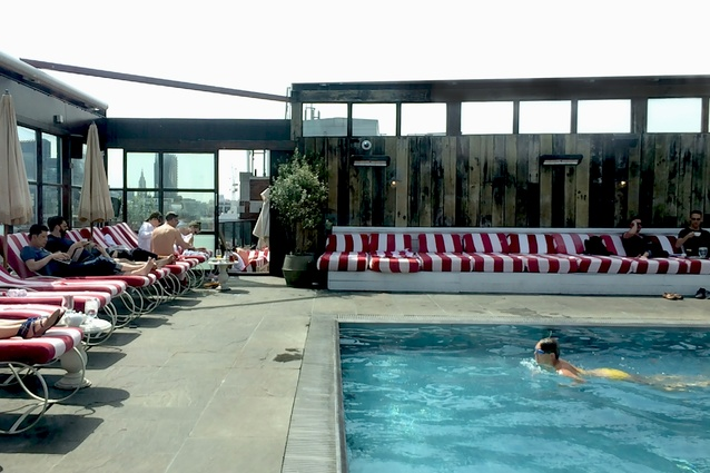 Pool of the private members club at Shoreditch House.