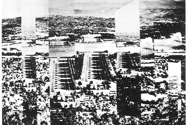 Mitchell/Giurgola Associates' entry in the Walter Burley Griffin Memorial competition of 1975, published in Process: Architecture, No. 2, 1977. The proposal shows a series of vertical mirrors reflecting the city from the vantage point of Mount Ainslie.