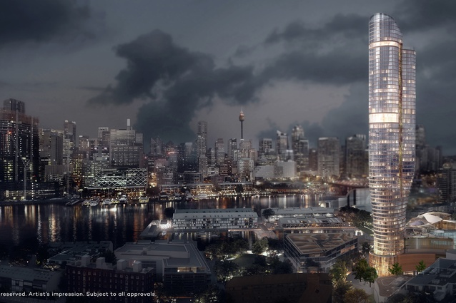 The proposed Ritz-Carlton hotel and residential tower designed by FJMT features an organic, sculptural form.