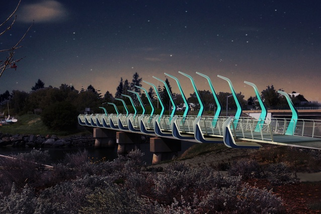 The Koombana Bay pedestrian bridge at night by Gresley Abas Architects.