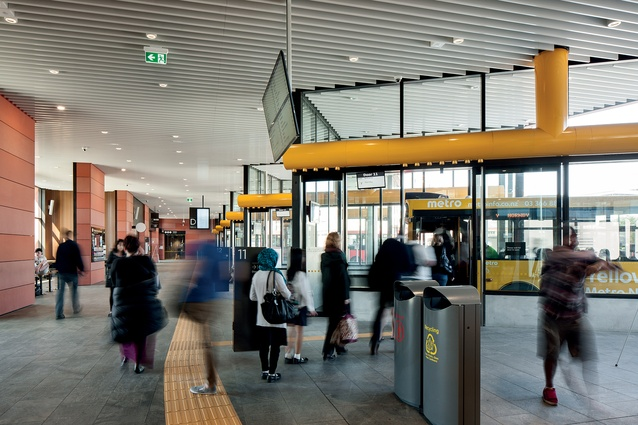 The configuration of the bus station prioritises pedestrian safety and amenity over the efficiency of the buses themselves.