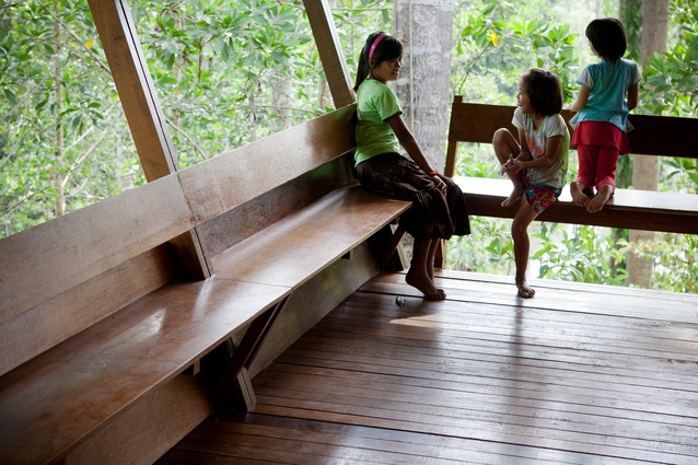 Shelter at Rainforest, located in the Borneo jungle, provides accommodation for the manager and guests of a forestry company.