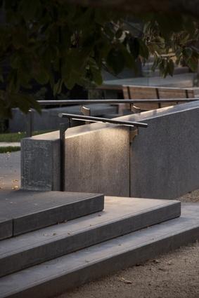 Bronze handrails underlit with LED lighting.