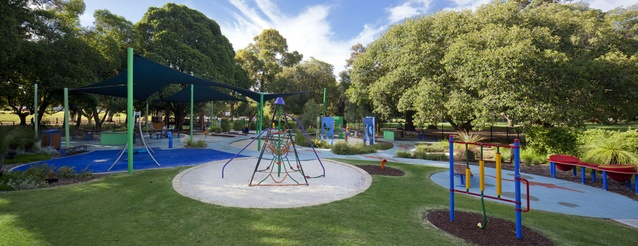 A mix of physical- and musical-based play equipment extends the range of play experiences for children.