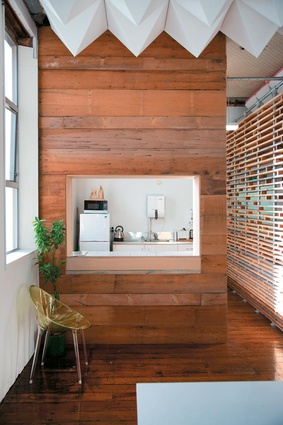 Recycled timber was used for a delicate screen in the Material Creative office.