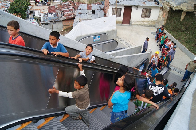 New escalators in Comuna, Medellín, reduce commuting time for 12,000 residents from thirty to about five minutes.