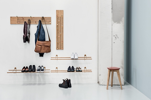 Design Junction: Sebastian Jørgensen's minimalist 'Scoreboard' features coat hangers, loop shelves and shoe racks, constructed by We Do Wood from sustainable moso bamboo.
