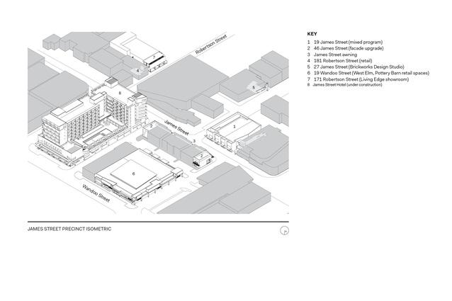 Isometric drawing of the James Street Precinct.