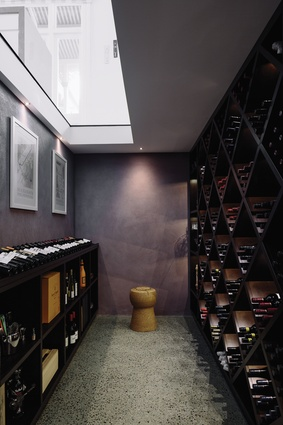 The wine cellar, which can be seen through the viewing window on the floor of the the dining area.