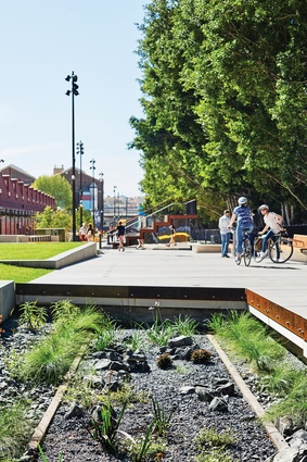 "Planting is ""eclectic"" but hardy and contributes to the common material language of the project, which includes formed concrete, timber, painted steel and exposed rail tracks."