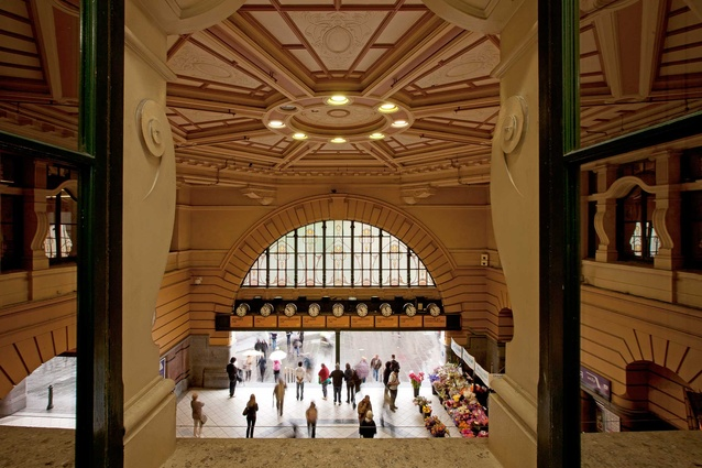 Inside the grand entrance to Flinders Street Station.