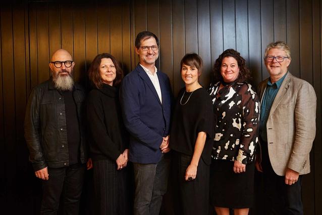The 2017 Houses Awards jury, L–R: Ian Moore, Wendy Lewin, Richard Kirk, Katelin Butler, Juliet Moore and Peter Williams.