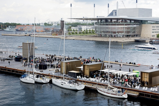 Kvæsthusmolen's urban upgrade around Copenhagen's Royal Danish Playhouse incorporates small pavilions containing cafés, ticket offices, restrooms and a stage tower.