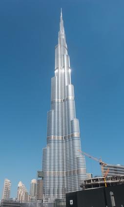 The Burj Khalifa in downtown Dubai is the world's tallest skyscraper.