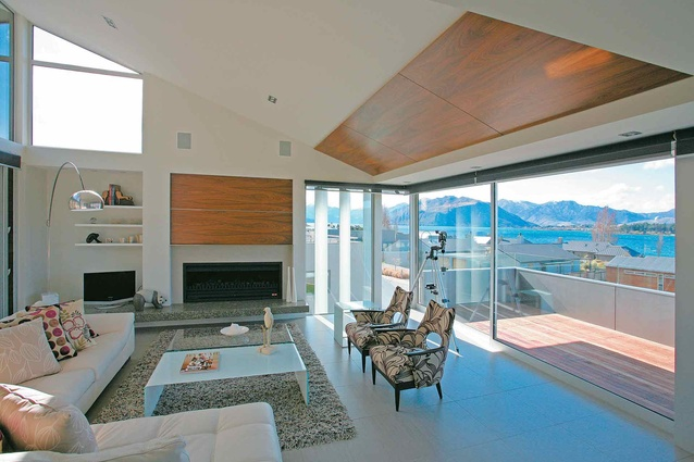 The lake views from the living room of this Wanaka house designed by John McCoy.