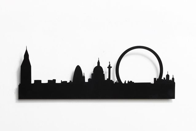 London Skyline coat rack by Catherine David Design.