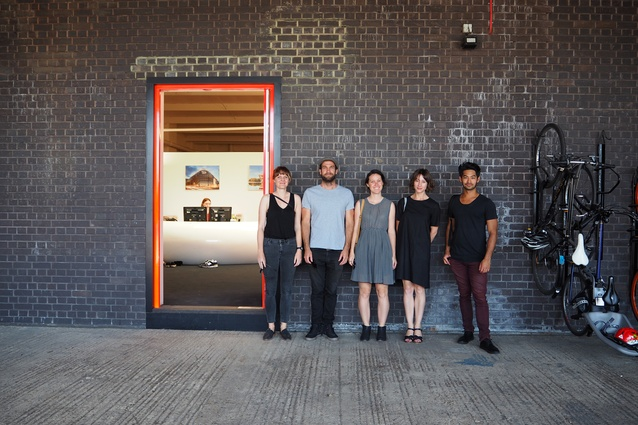 The 2017 Dulux Study Tour group at Amanda Levete Architects' office. From left: Imogene Tudor, Morgan Jenkins, Louisa Gee, Claire Scorpo and Alberto Quizon