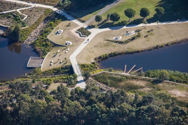Aerial perspective of Sydney Park.