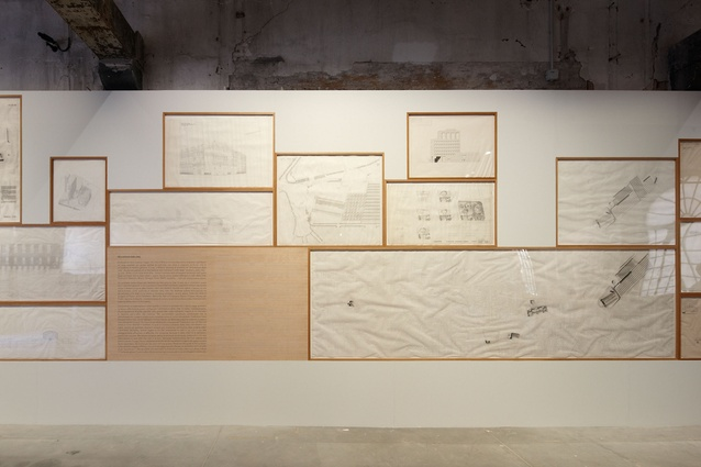 Timber-framed drawings and plans by Jose Rafael Moneo for the Common Ground exhibition at the 2012 Venice Architecture Biennale.