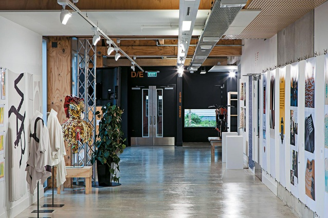 A wide corridor doubles as an exhibition space.