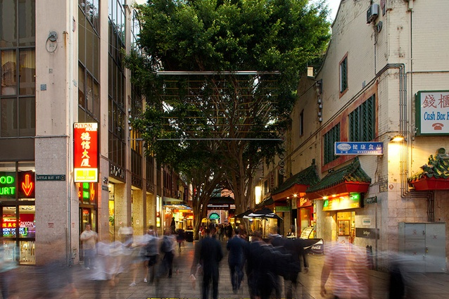 The view down Dixon Street from Little Hay Street, Chinatown, Sydney.