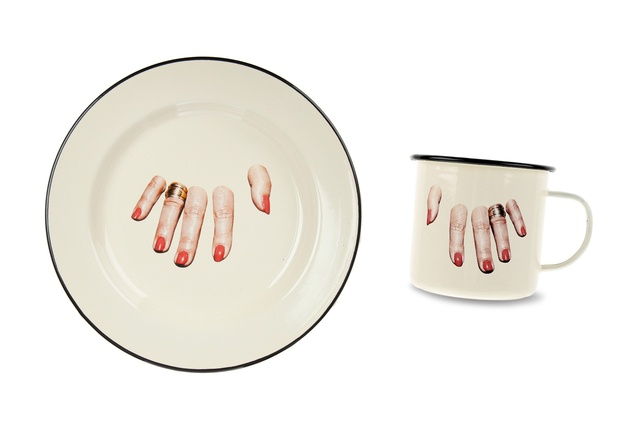 Seletti and <em>Toiletpaper</em> Magazine have collaborated to create this range of enamel plates and mugs.