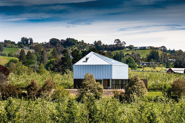 McKenzie House, Hawke's Bay, is a small 80m² house for a musician, set within the family orchard among rows of organic apple trees.