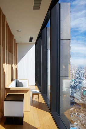 Guests can enjoy views of Tokyo in between spa treatments in the relaxation rooms on level thirty-four.