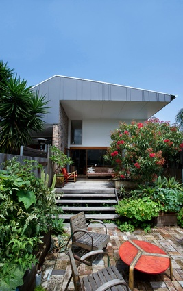 The rear deck and garden; to the left is Marrickville House One.