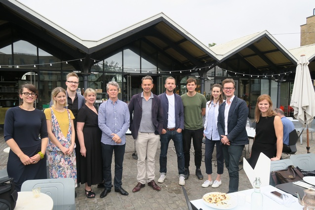 Group shot of the Dulux DIAlogue tour winners and organisers with Tom Dixon at his London showroom.