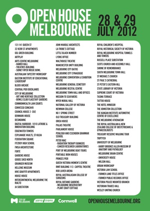 The list of buildings that will be open as part of the 2012 Open House Melbourne (click image to enlarge).