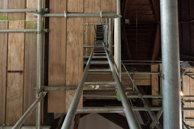 Significant scaffolding was required to access the highest internal areas of the church.