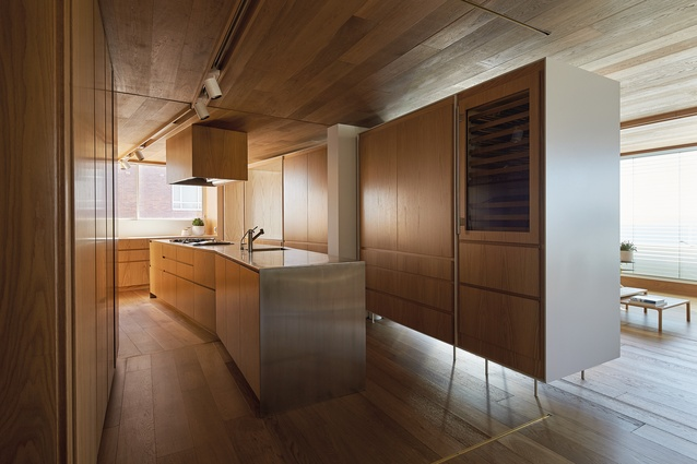 Custom-made cabinets blend seamlessly into the kitchen and adjoining living space.