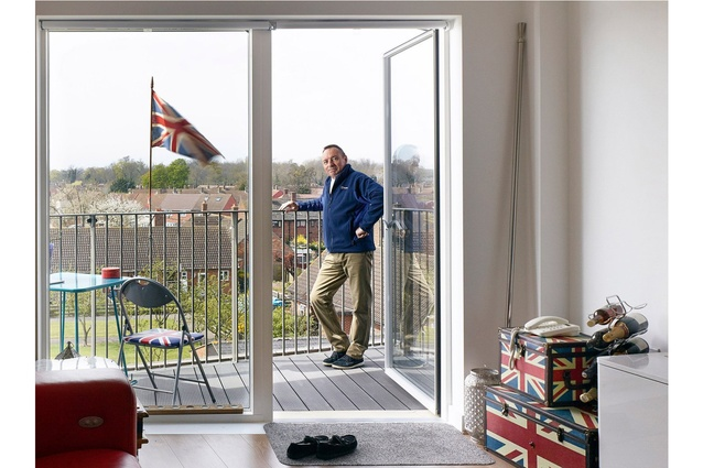 Interiors category: Photographer: Kilian O'Sullivan. Interior and portrait of Derry Road Resident on the Queen's Birthday. Architect: Bell Phillips Architects.