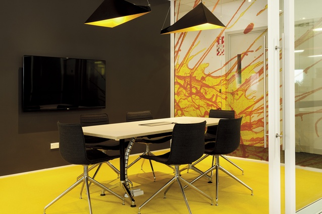 Meeting rooms feature supergraphics of Roche's own molecular photography and wire-hung geometric lighting.