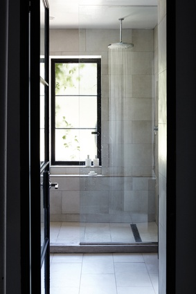 A glimpse into a simple bathroom.