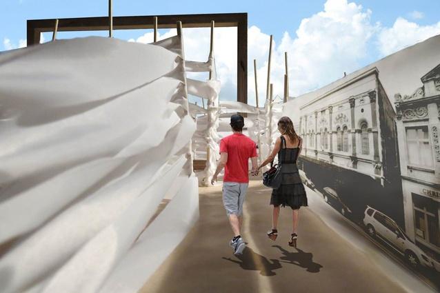 A submission for Studio Christchurch's CityUps from the Unitec Architecture Department, <em>The Daze Maze</em>.