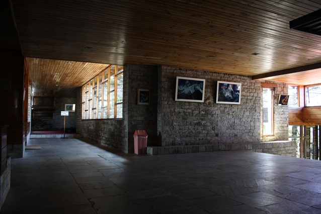 The hotel's interior of lacquered timber ceilings, slate floors and stone.