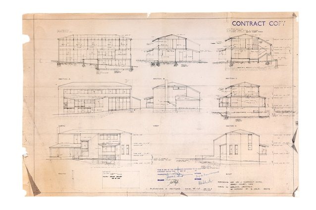 Original elevation and section drawings of the McDonald-Smith House from 1968.