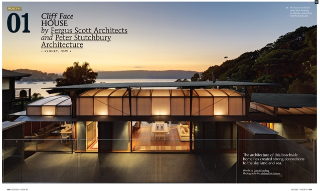 A preview from the magazine: Cliff Face House by Fergus Scott Architects and Peter Stutchbury Architecture.