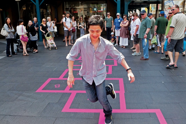 Hassell's <em>Walk the Line</em> turns the site's path into a game area, with hopscotch pitches.