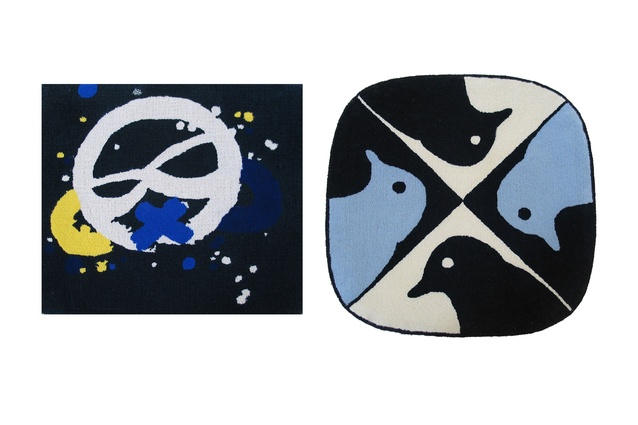 Dilana maquette rug collection. Left to right: IconOne (black) by Eric Orr; Birds by Richard Killeen.