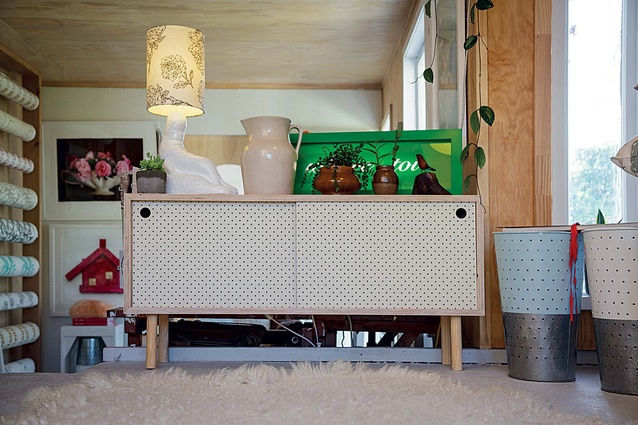 A pegboard sideboard on display in Culy's shop, Home Base Collections, in Napier.