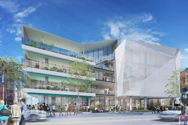 The exterior of the proposed Prahran High School by Gray Puksand will be made from glass and perforated screens.