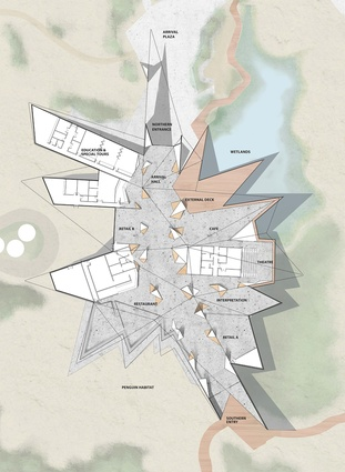 Floor plan of the proposed Penguin Parade Visitor Centre by Terroir.