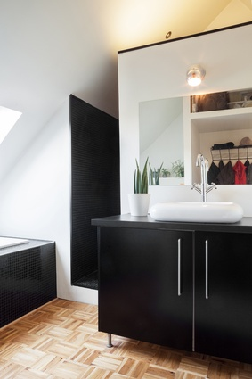 Like the kitchen, the bathroom plays with strong contrasts.