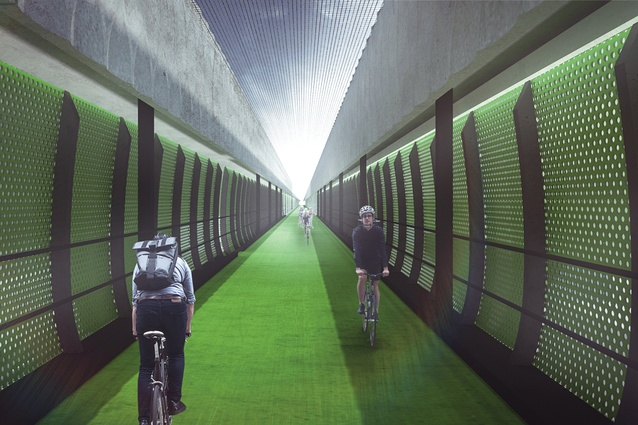"An elevated ""veloway"" in the West Gate Tunnel Project designed by Wood Marsh and Tract Consultants."